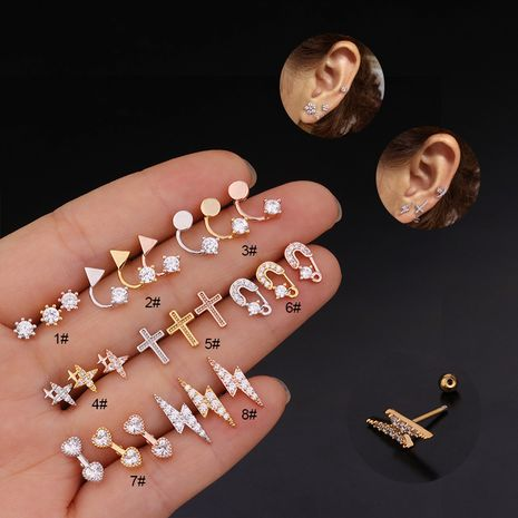 new  thread creative lightning stainless steel earrings  NHEN260941's discount tags