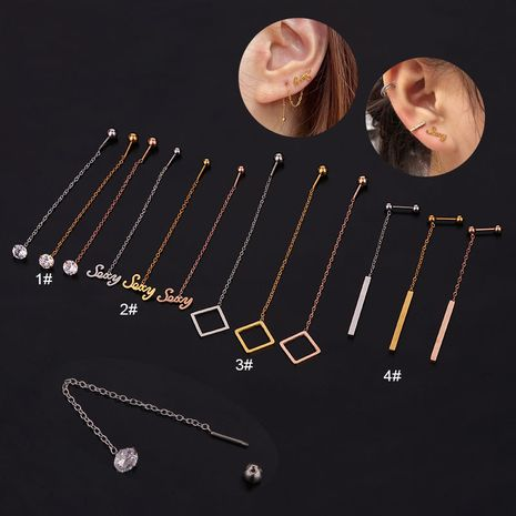 simple geometric shape stainless steel earrings  NHEN260942's discount tags