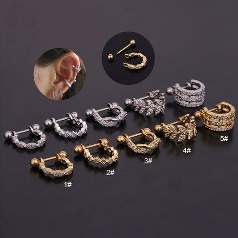 new U-shaped zircon  stainless steel  earrings  NHEN260950's discount tags