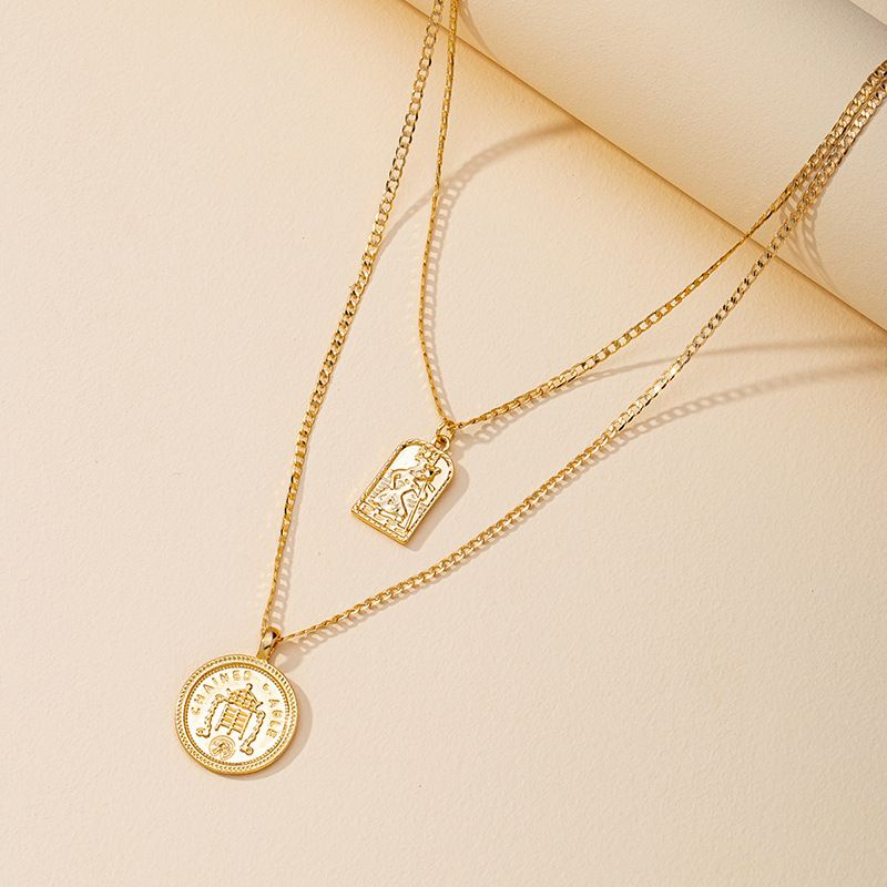 Hot selling fashion doublelayer gold coin necklace wholesale NHGU260958