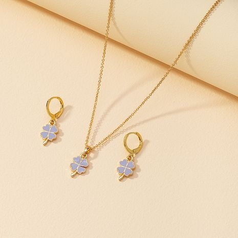 Hot selling fashion love flower necklace love flower earrings set wholesale NHGU260973's discount tags