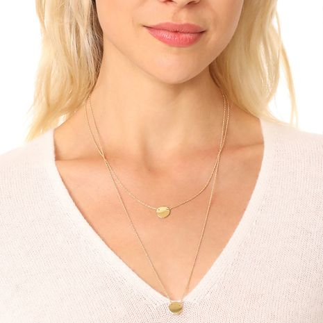Hot selling fashion double layer small disc necklace wholesale NHGU260983's discount tags
