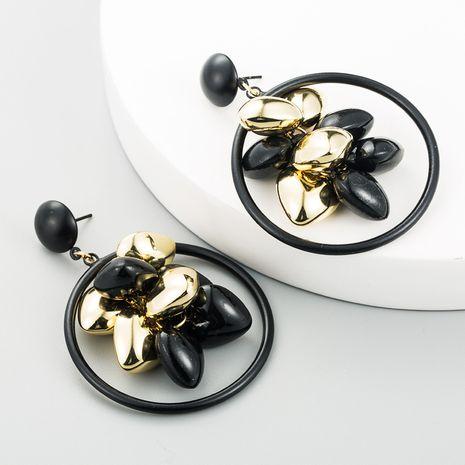 fashion circle long tassel black gold Korean round tassel alloy earrings NHLN260987's discount tags