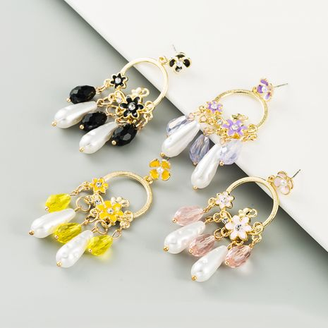 new long fringed pearl crystal drop oil flower alloy inlaid rhinestone earrings for women NHLN260988's discount tags