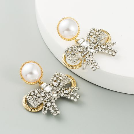 New Korean butterfly combined with gold pearl S925 silver needle full diamond earrings for women NHLN260989's discount tags