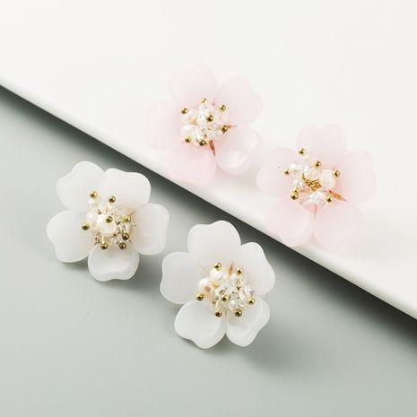 Korean acrylic flower inlaid pearl handmade fashion new wild earrings  NHLN260990's discount tags