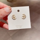 Hot selling 925 silver needle zircon microinlaid cross stars  moon earrings   NHCG261007