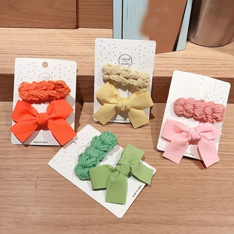 Korean color wool knitted girls side bangs clip sweet hairpin broken hair clip NHDQ261019's discount tags