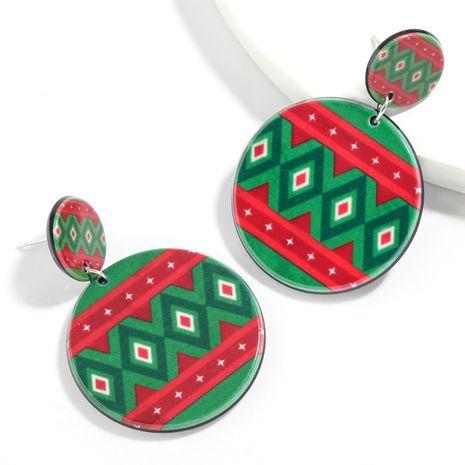 Christmas series round resin diamond pattern geometric pattern earrings wholesale NHJE261042's discount tags