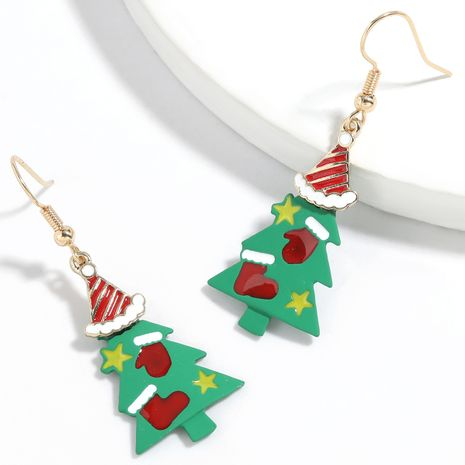 Christmas series alloy drip spray paint Christmas tree earrings  NHJE261043's discount tags