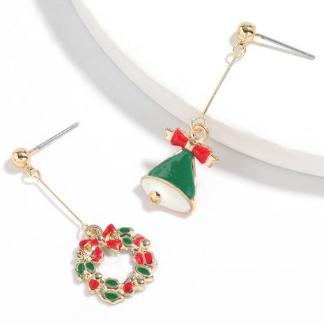 Christmas series alloy dripping Christmas bell wreath earrings for women NHJE261044's discount tags
