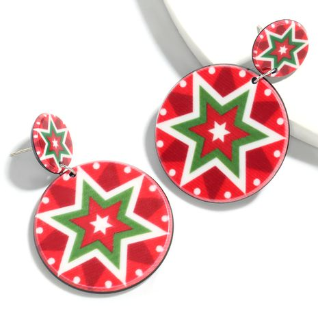 Christmas series round resin geometric pattern fashion earrings for women NHJE261045's discount tags