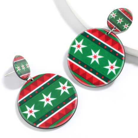 Christmas series round resin geometric pattern Christmas fashion earrings for women NHJE261046's discount tags
