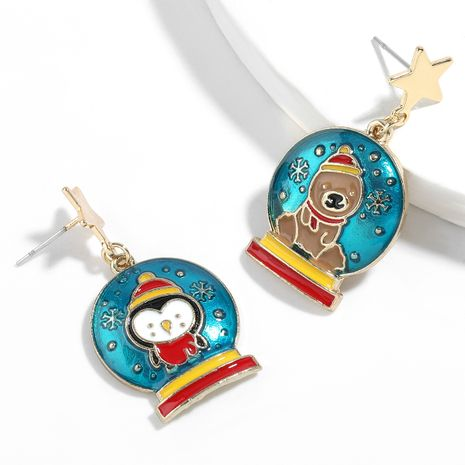 Christmas series alloy dripping oil penguin bear pattern crystal ball  earrings NHJE261048's discount tags