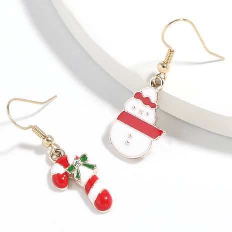 Christmas series alloy dripping oil Christmas  asymmetric earrings  NHJE261051's discount tags