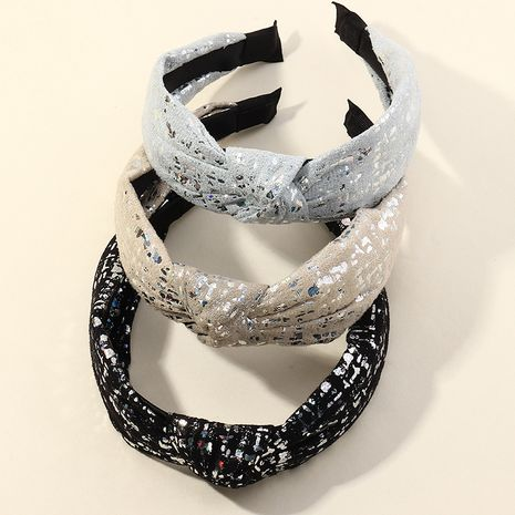 Korean  new sequined fabric wide brim headband  NHAU261078's discount tags