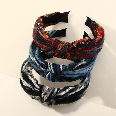 diadema anudada de lana gruesa tejida a la moda NHAU261082's discount tags