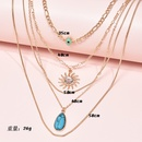 Multilayer womens eyes natural turquoise pendant necklace   NHAJ261097