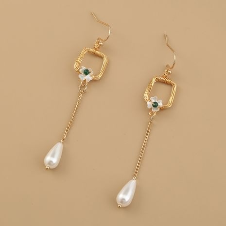 hot sale fashion retro long tassel simple wild pearl petal natural stone earrings  NHAN261121's discount tags