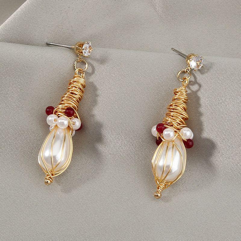 New  retro handwound   pearl  earrings NHAN261124