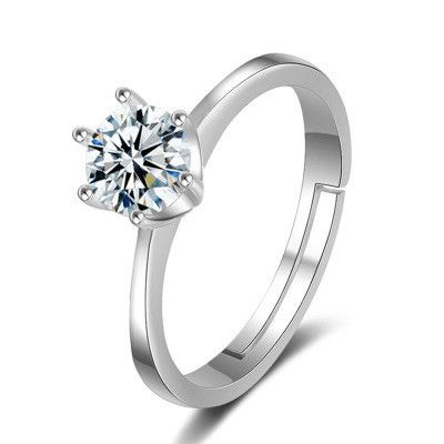 simple fashion diamond couple classic crown six-claw inlaid open ring NHMO261150's discount tags