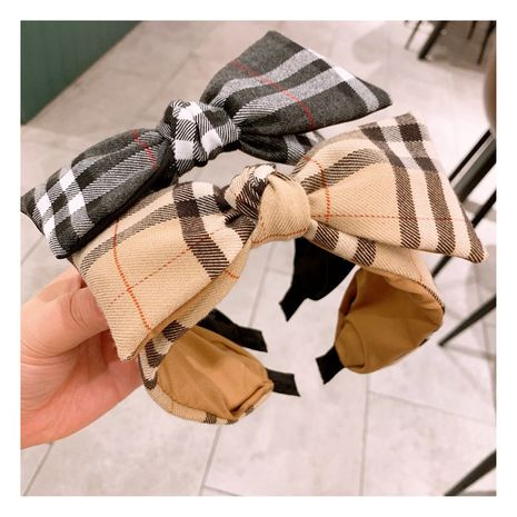 Korea   classic British plaid color matching bow headband  NHHD261196's discount tags