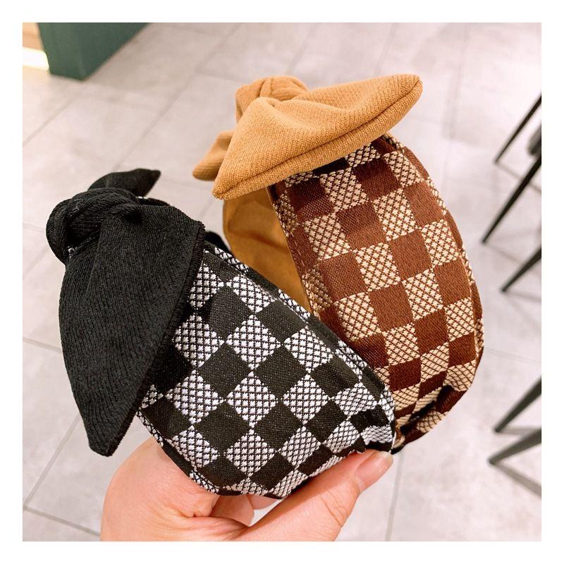 Korea  new  retro cashmere check wild bow headband  NHHD261199