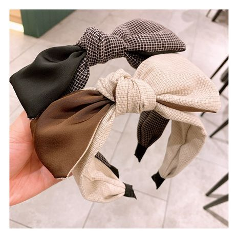 Korean  retro college  dark gold square color matching bow hairband NHHD261200's discount tags