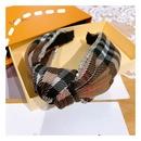 new  retro British cashmere plaid full diamond  flashing bow headband NHHD261202