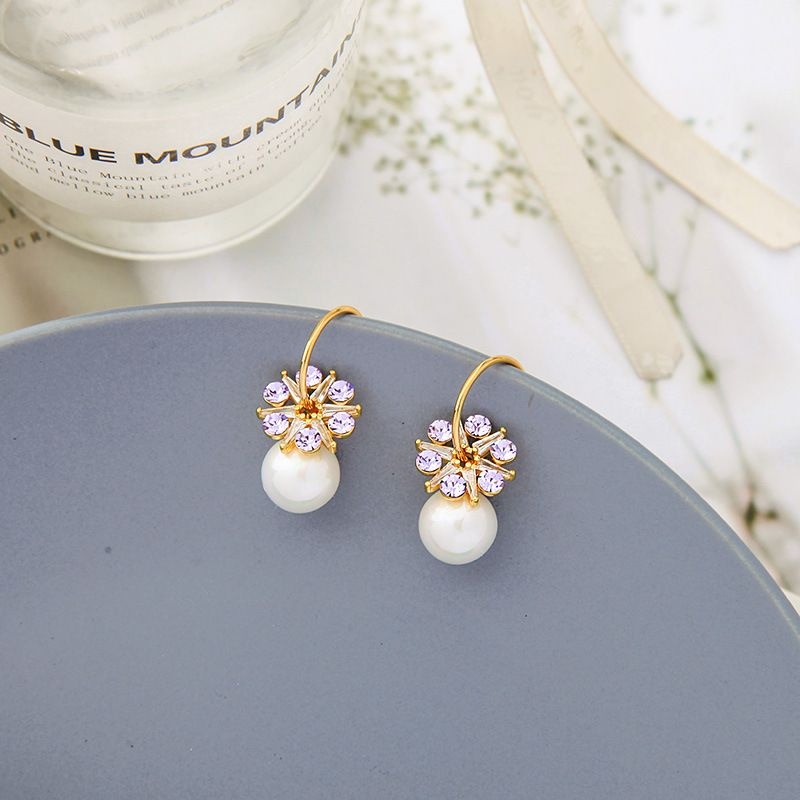 Flower simple pearl Korean niche c-shaped circle alloy earrings NHQD261205