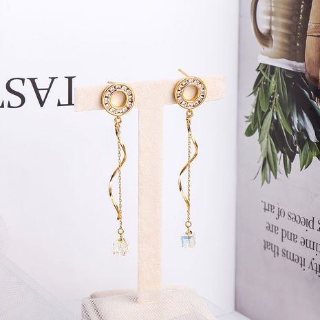 Korean fashion new tassel  geometric sugar cube alloy earrings NHQD261213's discount tags