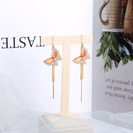 Butterfly Korean long opal sweet girls simple tassel alloy earrings NHQD261216's discount tags
