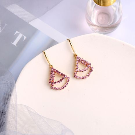 simple compact irregular fan-shaped wild  Korean micro-inlaid geometric earrings NHQD261217's discount tags