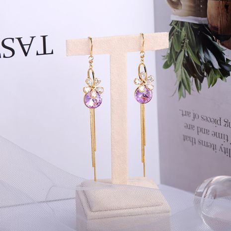 Korean new  sweet long tassel flower alloy earrings NHQD261218's discount tags