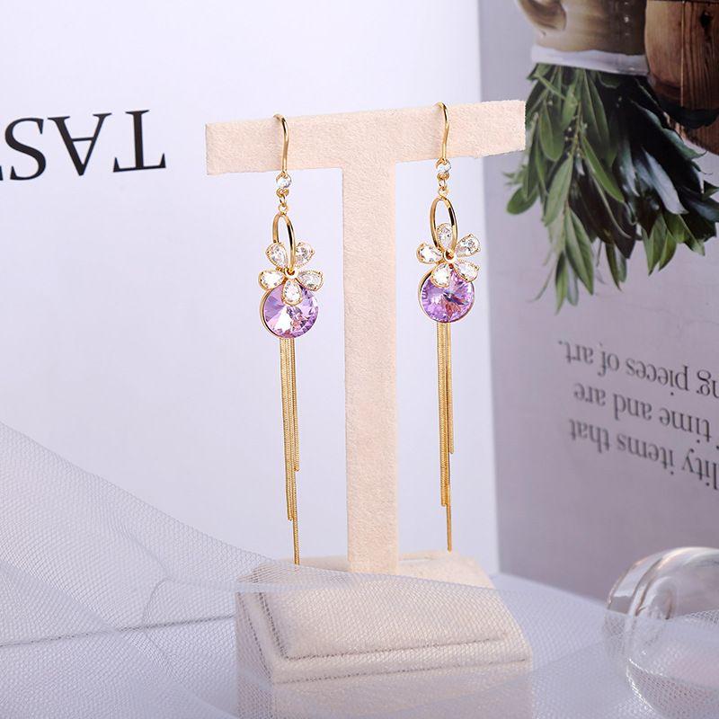 Korean new  sweet long tassel flower alloy earrings NHQD261218