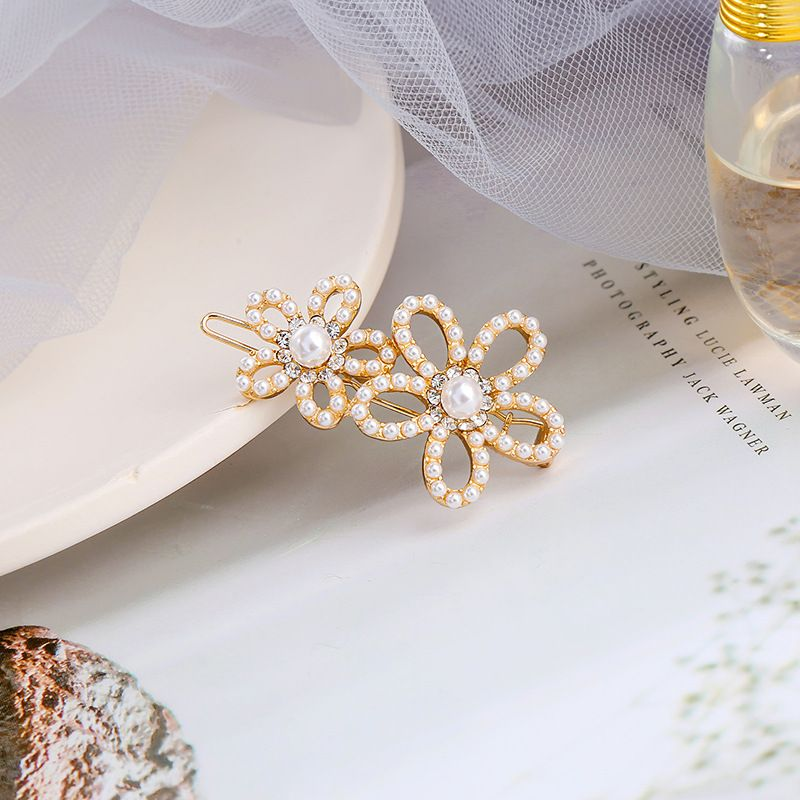 Fashion pearl side clip sweet new bangs clip simple flower word clip NHQD261224