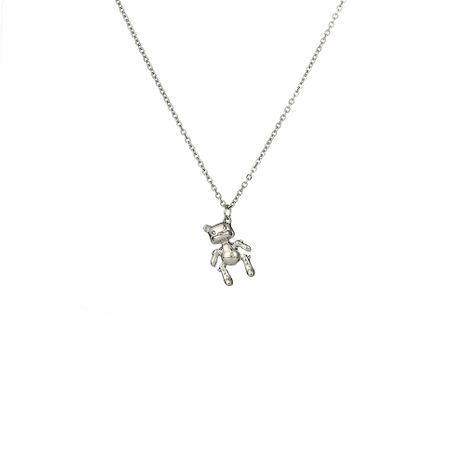 Heiß verkaufte Vintage-Legierung Bärenanhänger Edelstahl Halskette NHOA261263's discount tags