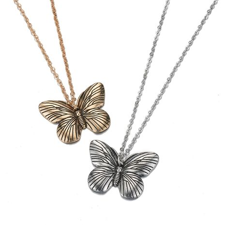 Hot-selling vintage alloy butterfly pendant necklace wholesale NHOA261265's discount tags