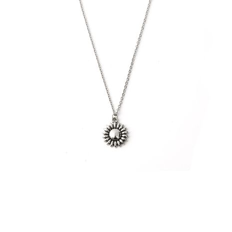 Hot-selling retro alloy sunflower pendant stainless steel necklace NHOA261266's discount tags