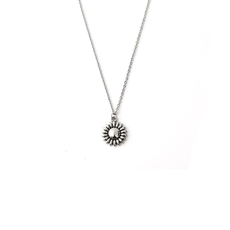Hot-selling retro alloy sunflower pendant stainless steel necklace NHOA261266
