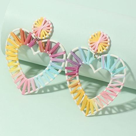 wholesale gradient raffia fashion love-shaped earrings for women NHNZ261271's discount tags