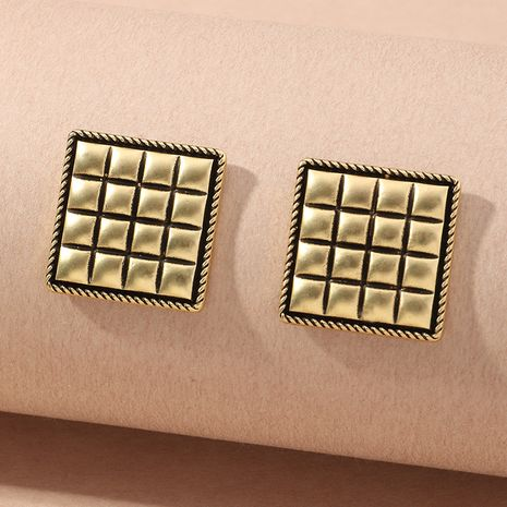 Fashion simple new metal retro distressed matte gold button earrings  NHNZ261275's discount tags