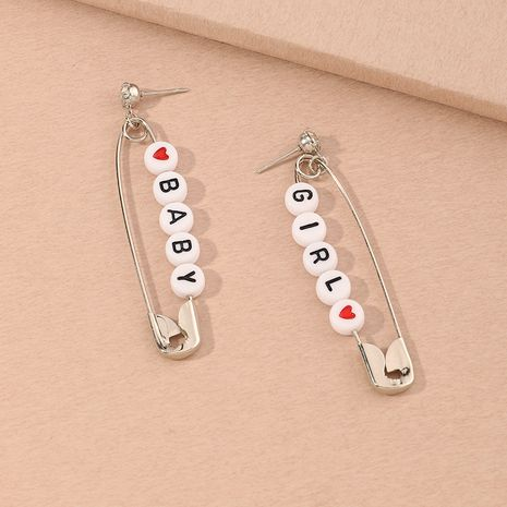 Fashion hip-hop punk style pin new letter earrings for women wholesale NHNZ261279's discount tags