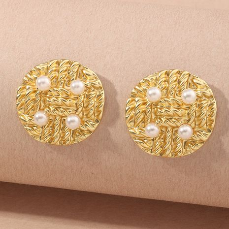 wholesale simple fashion metal new round pearl earrings for women NHNZ261281's discount tags