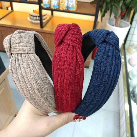 Hot selling fashion knitted wool knotted headband retro striped solid color headband  NHUX261284's discount tags