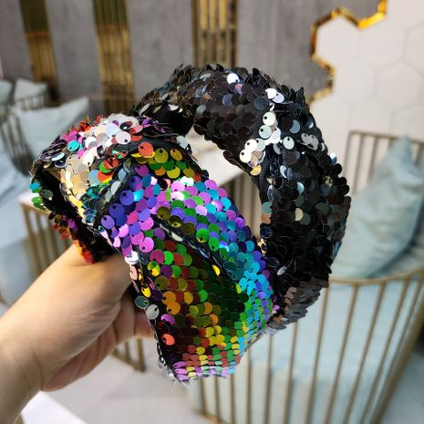 Hot selling new sequins knotted headband super flash headband wholesale NHUX261286's discount tags