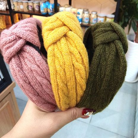 Hot Knitted Knotted Headband  Wool Hairpin Simple Wide-Border Headband   NHUX261289's discount tags