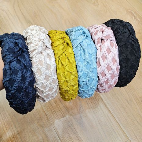 Simple and cute lace folds wild  women's headband NHUX261293's discount tags