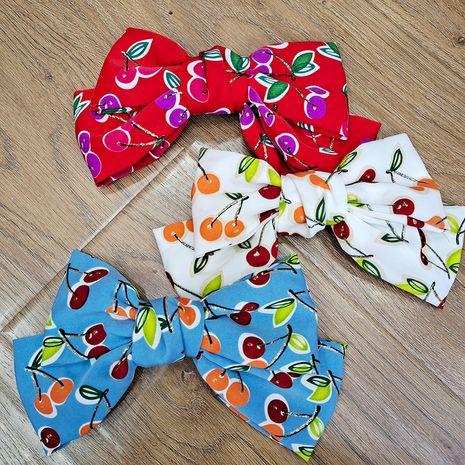 Korean bow fabric cherry back head clip wild girly cute hairpin  NHUX261301's discount tags