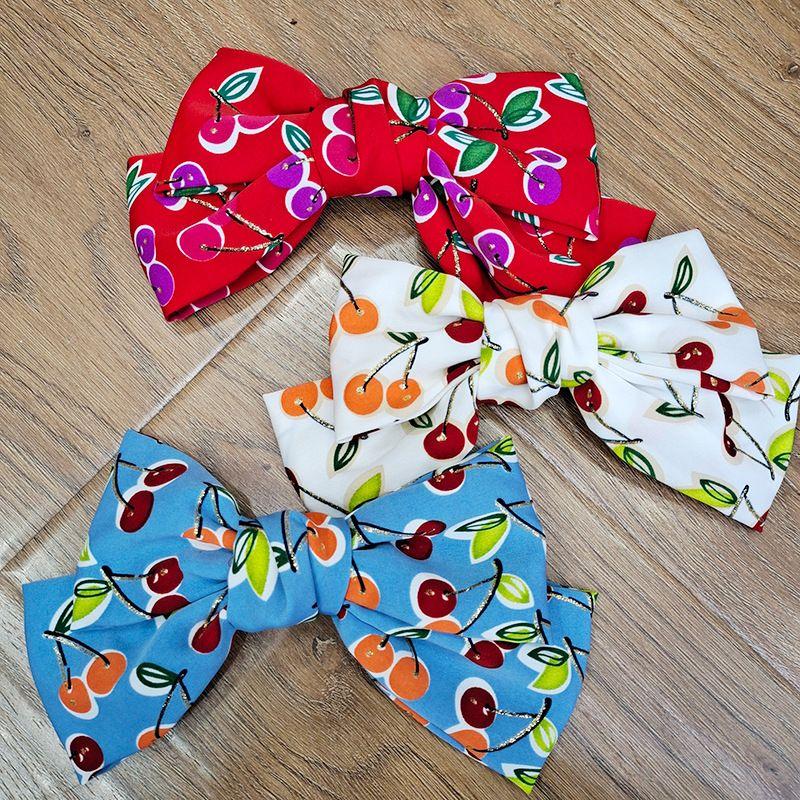 Korean bow fabric cherry back head clip wild girly cute hairpin  NHUX261301